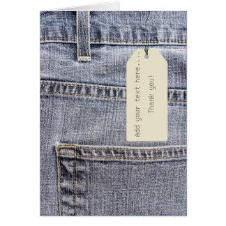 jeans com um Tag de papel Cartoes