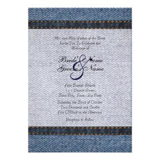 Jeans da sarja de Nimes do vintage que Wedding o c Convite Personalizado