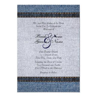 Jeans da sarja de Nimes do vintage que Wedding o Convite 12.7 X 17.78cm