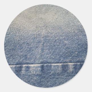 Jeans tecido desvanecidos da sarja de Nimes Adesivos Redondos