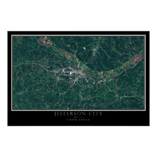 Jefferson city Missouri do mapa do satélite do Pôster