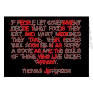 Jefferson na comida e na medicina cartão comemorativo