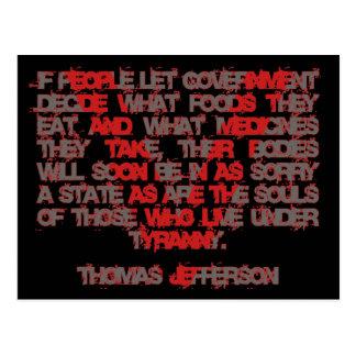 Jefferson na comida e na medicina cartão postal