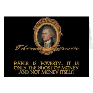 Jefferson no papel moeda cartão