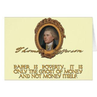 Jefferson no papel moeda cartão comemorativo