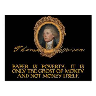 Jefferson no papel moeda cartão postal