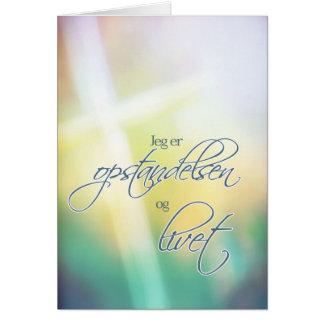 Jeg er opstandelsen, felz pascoa religioso cartão comemorativo