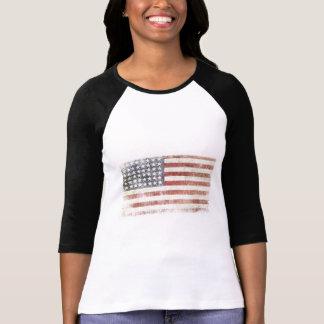 Jérsei de basebol fêmea com bandeira dos EUA T-shirt