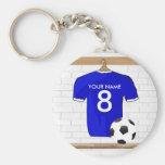 Jérsei de futebol branco azul personalizado do chaveiros
