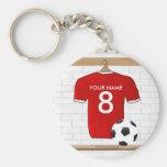 Jérsei de futebol branco vermelho personalizado do chaveiro