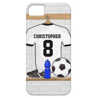 Jérsei de futebol preto branco personalizado do capa barely there para iPhone 5