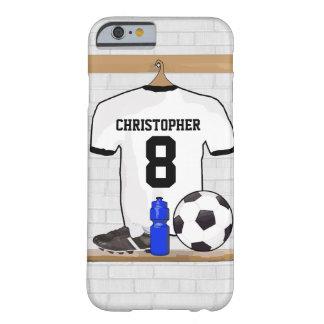 Jérsei de futebol preto branco personalizado do capa barely there para iPhone 6