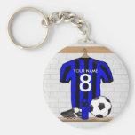 Jérsei de futebol preto e azul personalizado do fu chaveiros