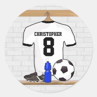 Jérsei de futebol preto personalizado do futebol adesivos em formato redondos