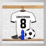 Jérsei de futebol preto personalizado do futebol d pôsteres