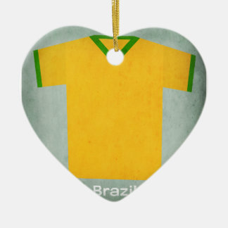 Jérsei retro Brasil do futebol Ornamento De Cerâmica Coração