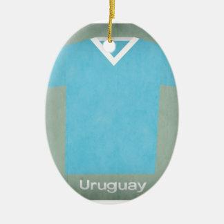 Jérsei retro Uruguai do futebol Ornamento De Cerâmica Oval