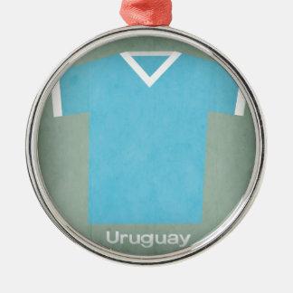 Jérsei retro Uruguai do futebol Ornamento Redondo Cor Prata