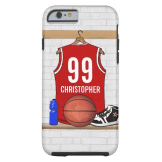 Jérsei vermelho e branco personalizado do capa tough para iPhone 6