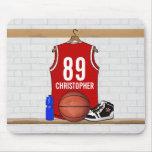 Jérsei vermelho personalizado do basquetebol mousepads