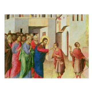 Jesus abre os olhos de uma cortina nascida do cartão postal