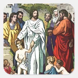 Jesus ama as crianças pequenas adesivo em forma quadrada