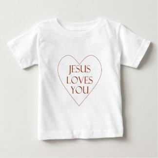 Jesus ama-o camiseta para bebê