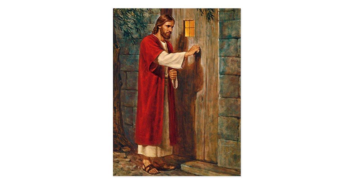 Jesus bate na porta cart o postal zazzle for Jesus a porta