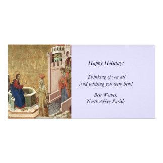 Jesus com a mulher no poço cartão com foto