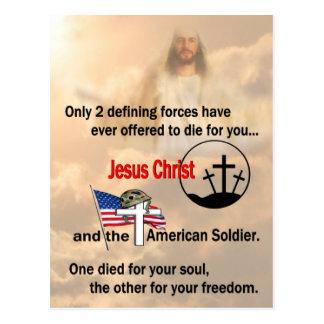 Jesus Cristo & o soldado americano Cartão Postal