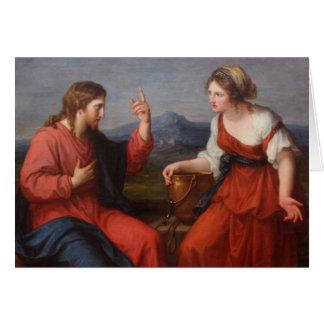 Jesus e a mulher no poço cartão comemorativo