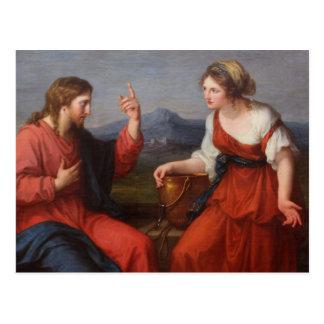 Jesus e a mulher no poço cartao postal