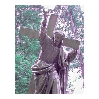 Jesus e aviador cristão transversal modelos de panfleto