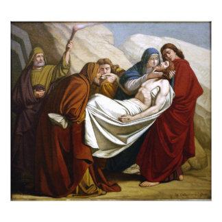 Jesus é colocado nas estações do túmulo da cruz 14 impressão de foto