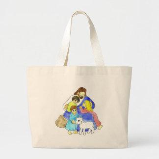 Jesus e crianças bolsa tote grande