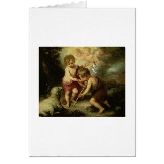 Jesus e John The Baptist infantis cerca de 1600's Cartão Comemorativo