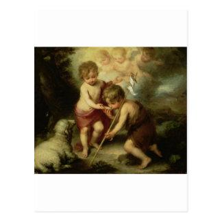 Jesus e John The Baptist infantis cerca de 1600's Cartão Postal