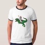 Jesus em um dinossauro tshirts