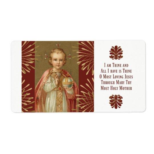 Jesus infantil da oração de Praga Etiqueta De Frete