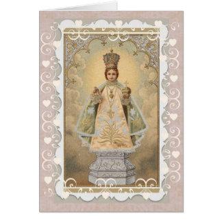 Jesus infantil do cartão religioso de Praga