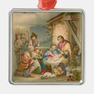 Jesus no comedoiro ornamento quadrado cor prata