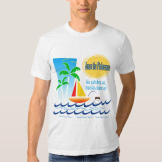 Jesus o pescador camisetas