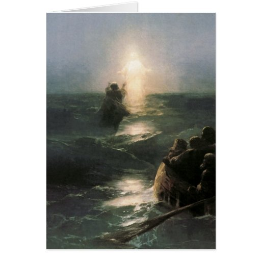 Jesus que anda em mares tormentosos cartão