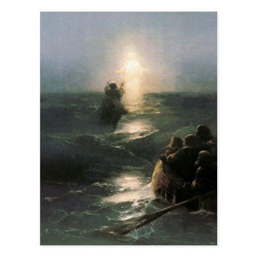 Jesus que anda em mares tormentosos cartão postal