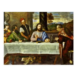 Jesus que janta na casa de Emmaus Cartão Postal