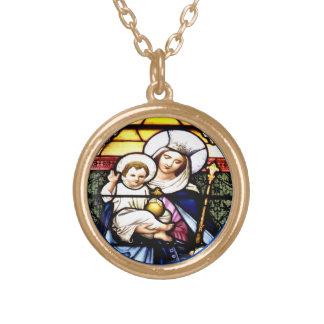 Jesus & rainha da colar do vitral do céu