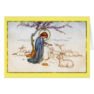 Jesus religioso clássico com desejos da páscoa dos cartão comemorativo