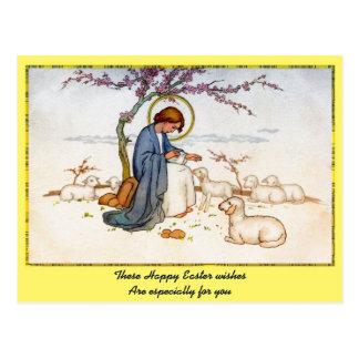 Jesus religioso clássico com desejos da páscoa dos cartão postal