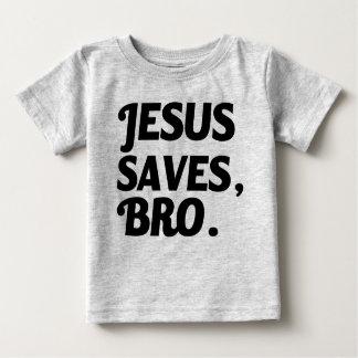 Jesus salvar, camisa engraçada do bebê de Bro Camiseta