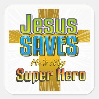 Jesus salvar - é minhas etiquetas do quadrado do